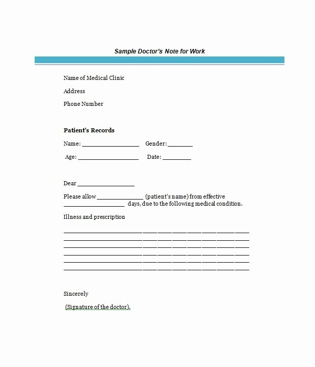 Doctors Note Template Pdf Inspirational Free Doctor S Note Excuse Note Templates Template Section
