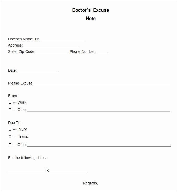Doctors Note Template Pdf Lovely 9 Doctor Excuse Templates Pdf Doc
