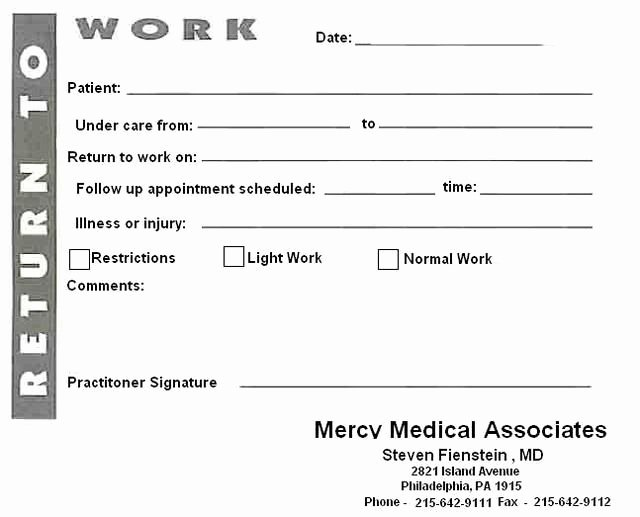 Doctors Note Template Pdf New Blank Printable Doctors Notes