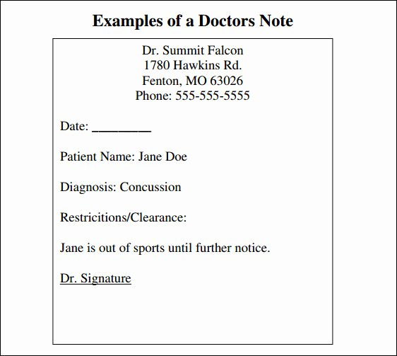 Doctors Note Template Pdf Unique Free 33 Doctors Note Samples In Google Docs Pdf