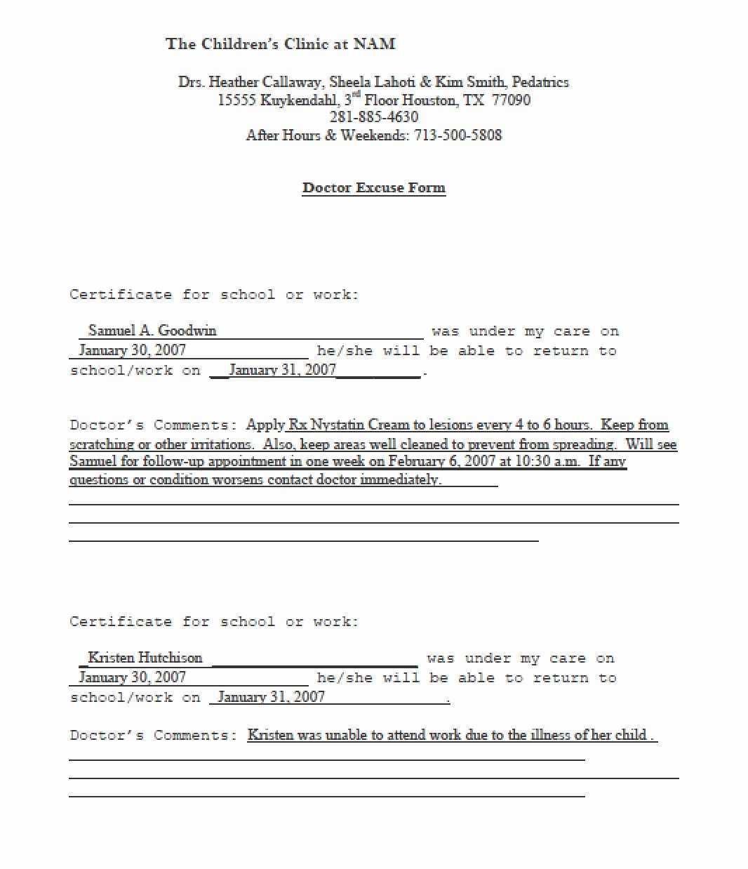 Doctors Notes for Missing Work Fresh Download Doctors Note Templates Pdf Rtf