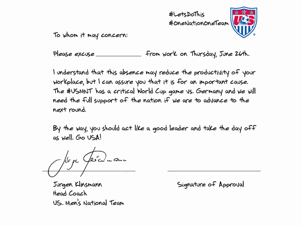 Doctors Notes for Missing Work Lovely U S soccer Coach Wrote An Excuse Note for You to Miss