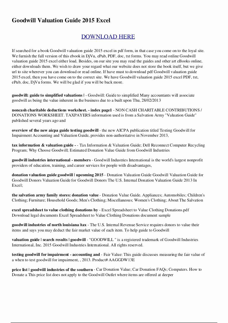 Donation Value Guide 2019 Spreadsheet Luxury Salvation Army Donation Value Guide 2018 Spreadsheet