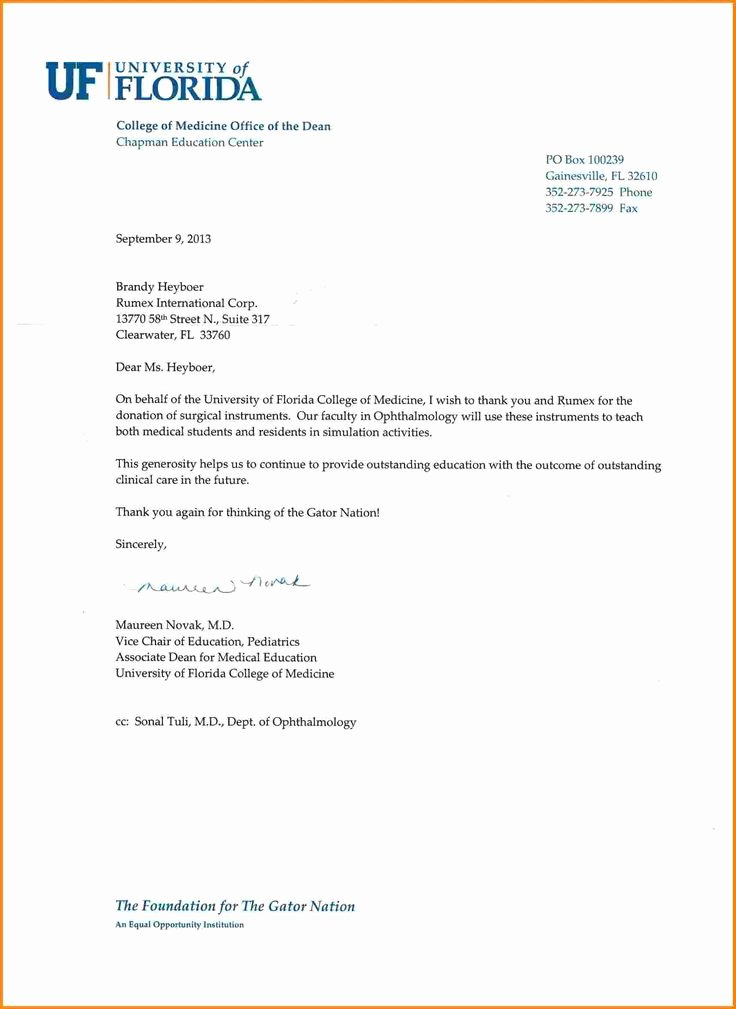 Donor Thank You Letter Awesome Thank You Letter for Donation Scholarship Letters Best