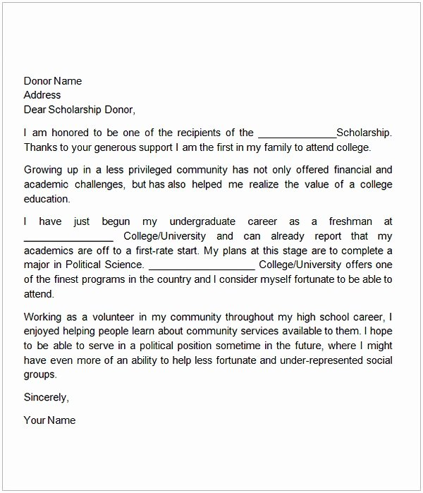 Donor Thank You Letter Awesome Thank You Letter for Scholarship Sample