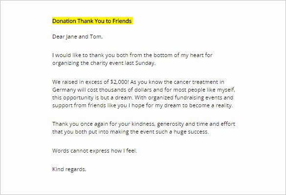 Donor Thank You Letter Fresh Donor Thank You Letter Template – 10 Free Word Excel