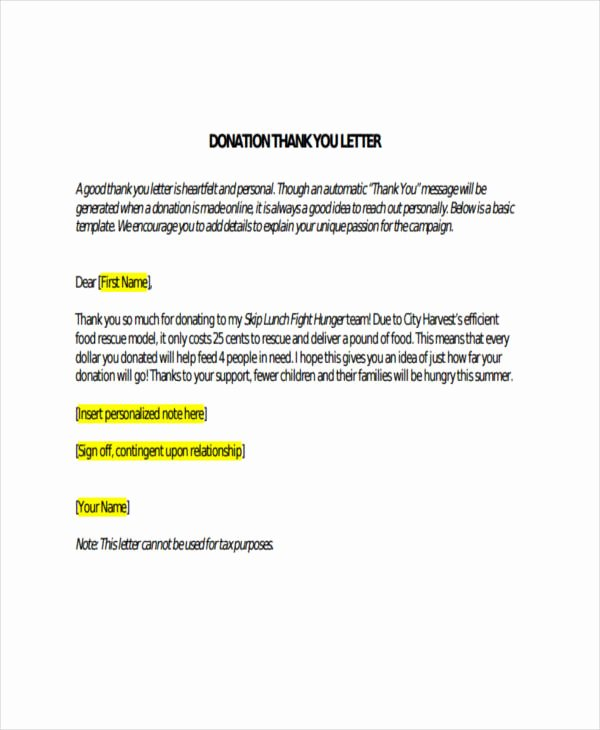 Donor Thank You Letter Inspirational Free 74 Thank You Letter Examples In Doc Pdf
