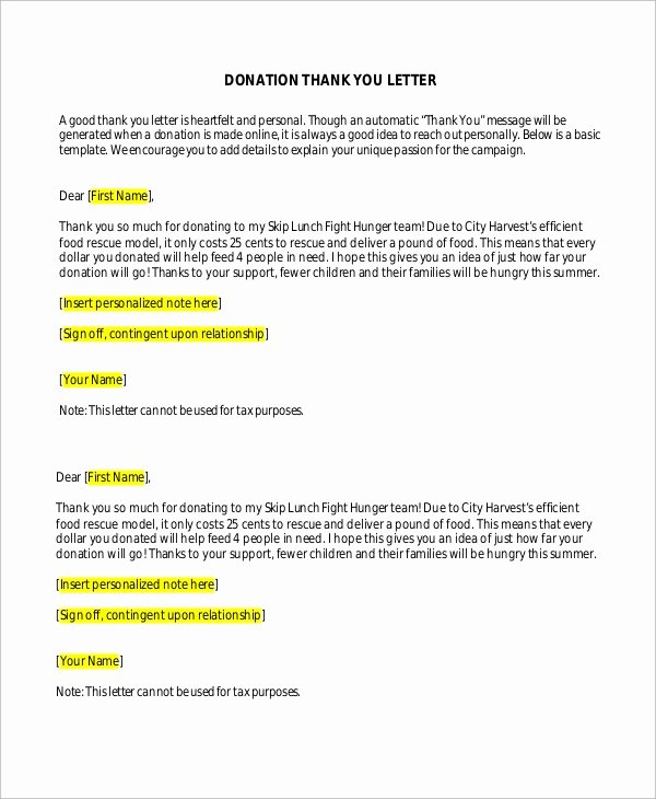 Donor Thank You Letter Inspirational Sample Donation Thank You Letter 10 Examples In Word Pdf
