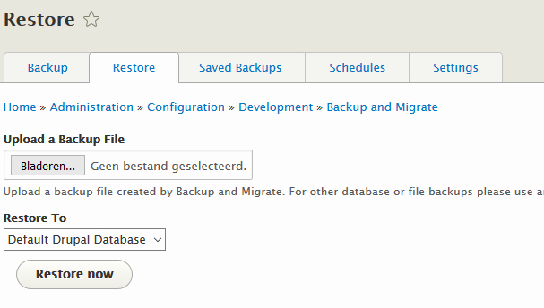 Drupal Backup and Migrate Unique Backup and Migrate