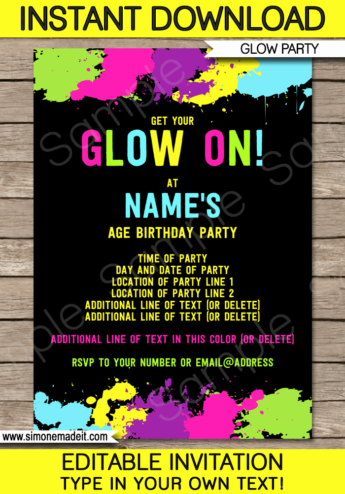 Editable Birthday Invitations Templates Free Awesome Neon Glow Party Invitations Template