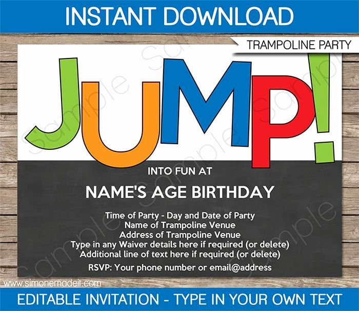 Editable Birthday Invitations Templates Free Best Of Trampoline Party Invitations Template – Boys