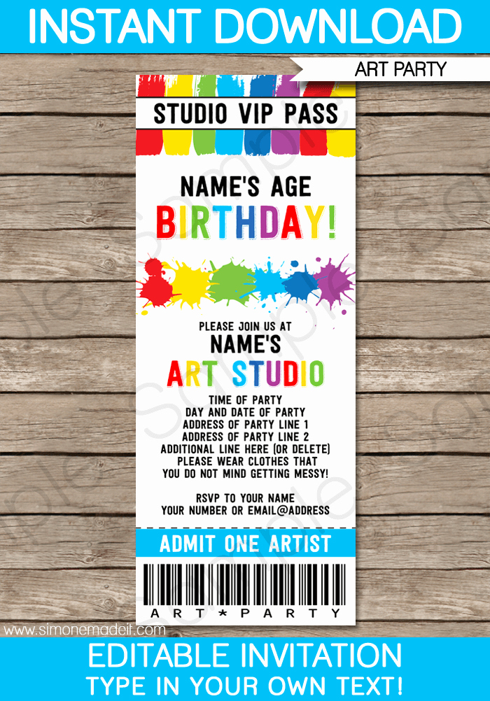 Editable Birthday Invitations Templates Free Elegant Art Party Ticket Invitations Paint Party