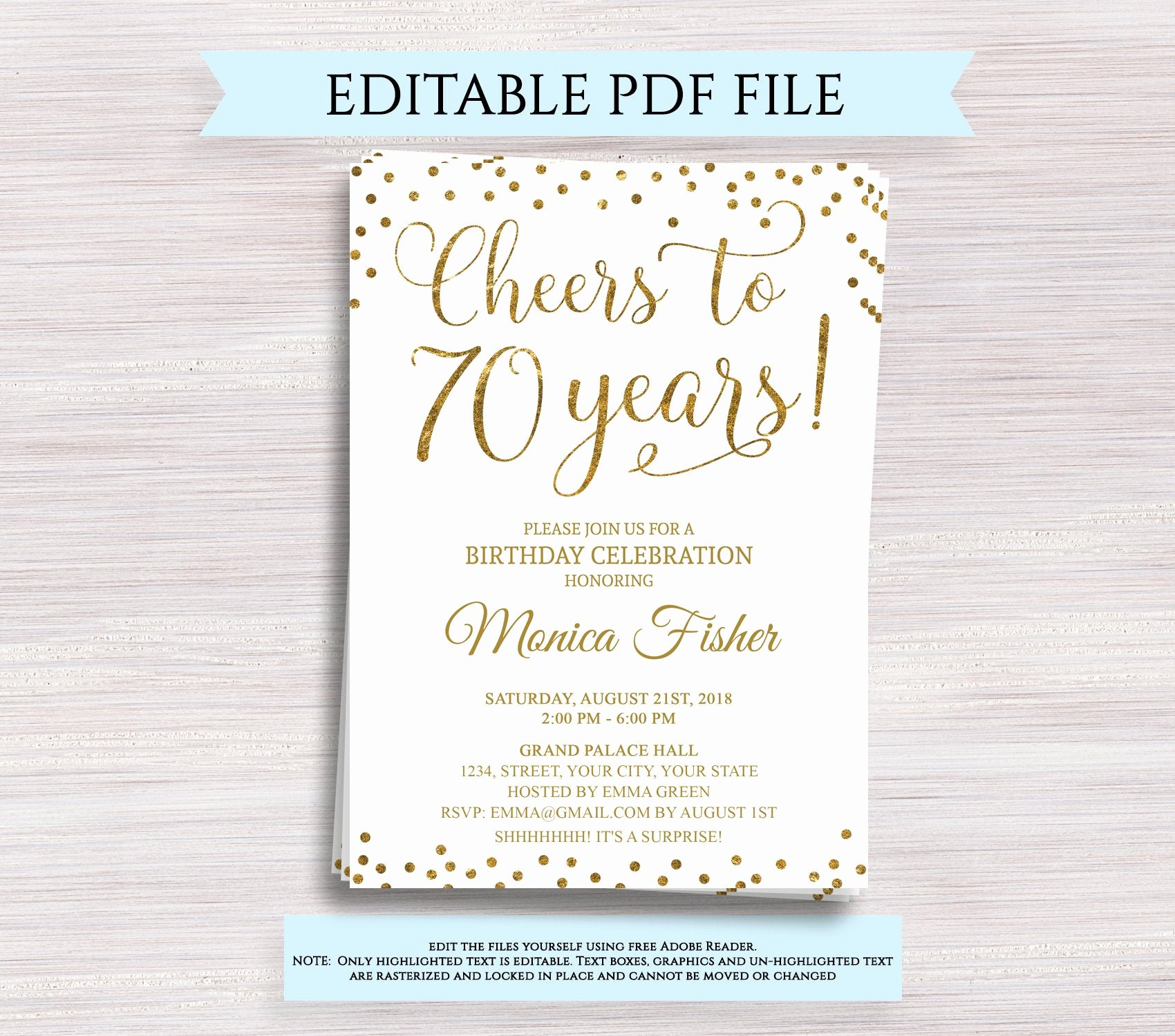 Editable Birthday Invitations Templates Free Elegant Editable 70th Birthday Party Invitation Template Cheers to