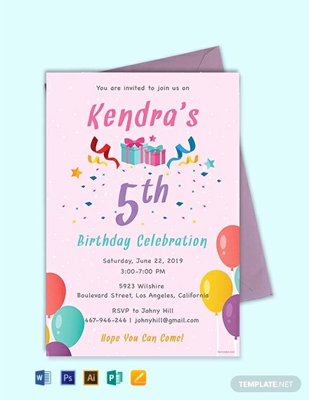 Editable Birthday Invitations Templates Free Elegant Free 5th Birthday Invitation Template Word