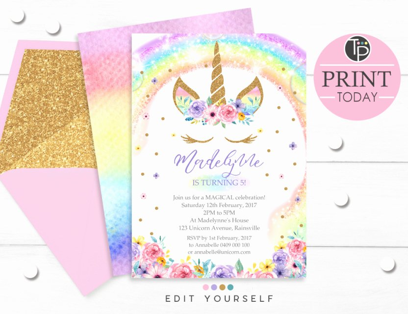 Editable Birthday Invitations Templates Free Elegant Rainbow Unicorn Invitation Editable Template Edit at Home