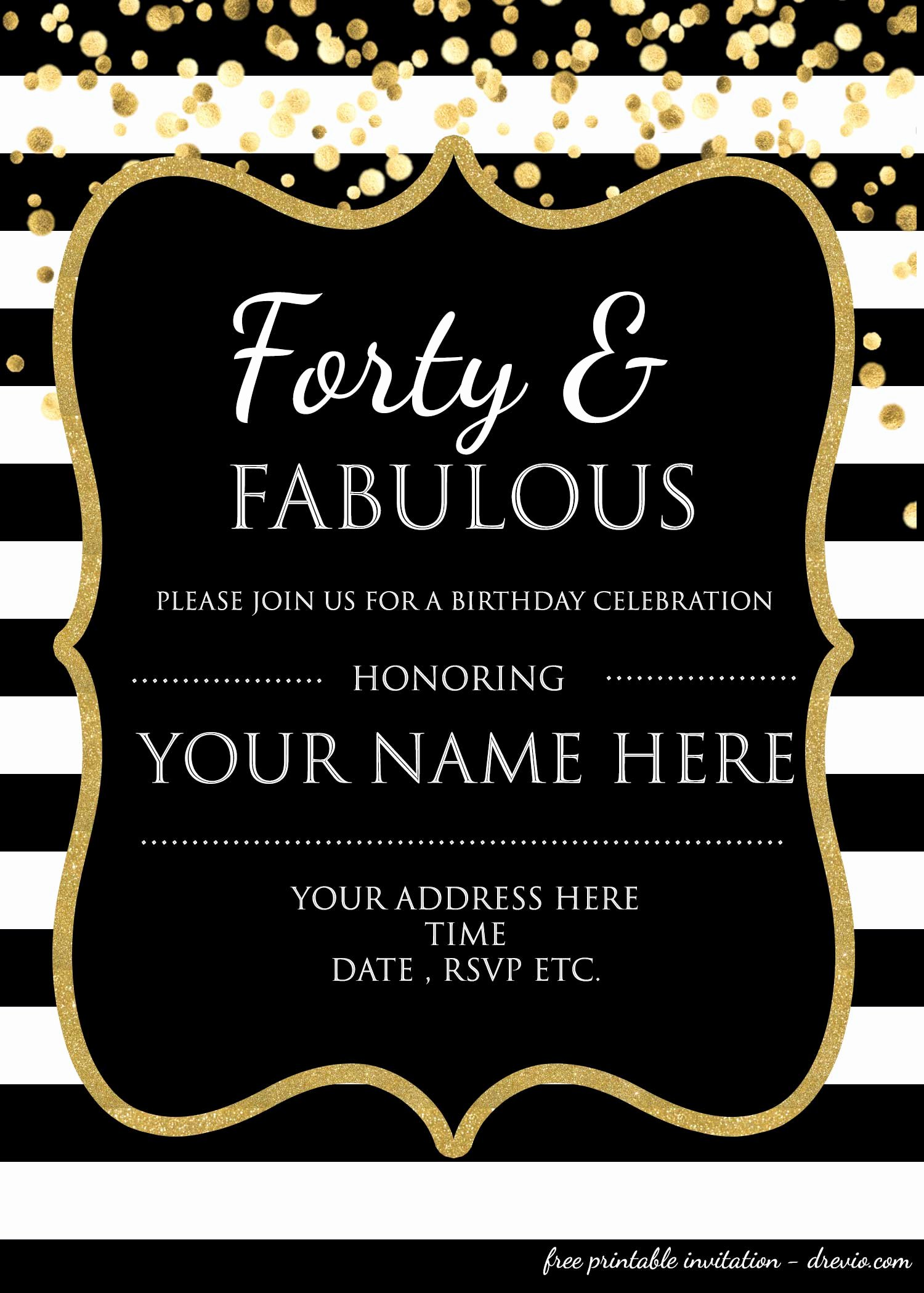 Editable Birthday Invitations Templates Free Fresh forty & Fabulous 40th Birthday Invitation Template – Psd