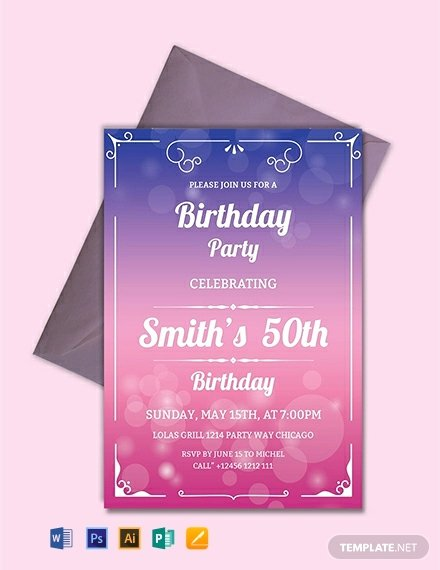 Editable Birthday Invitations Templates Free Fresh Free 50th Birthday Invitation Template Word