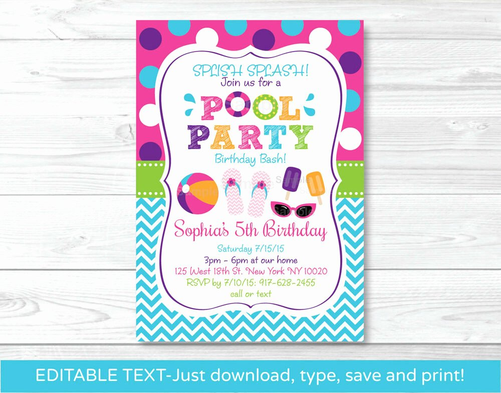 Editable Birthday Invitations Templates Free Fresh Girls Pool Party Printable Birthday Invitation Editable