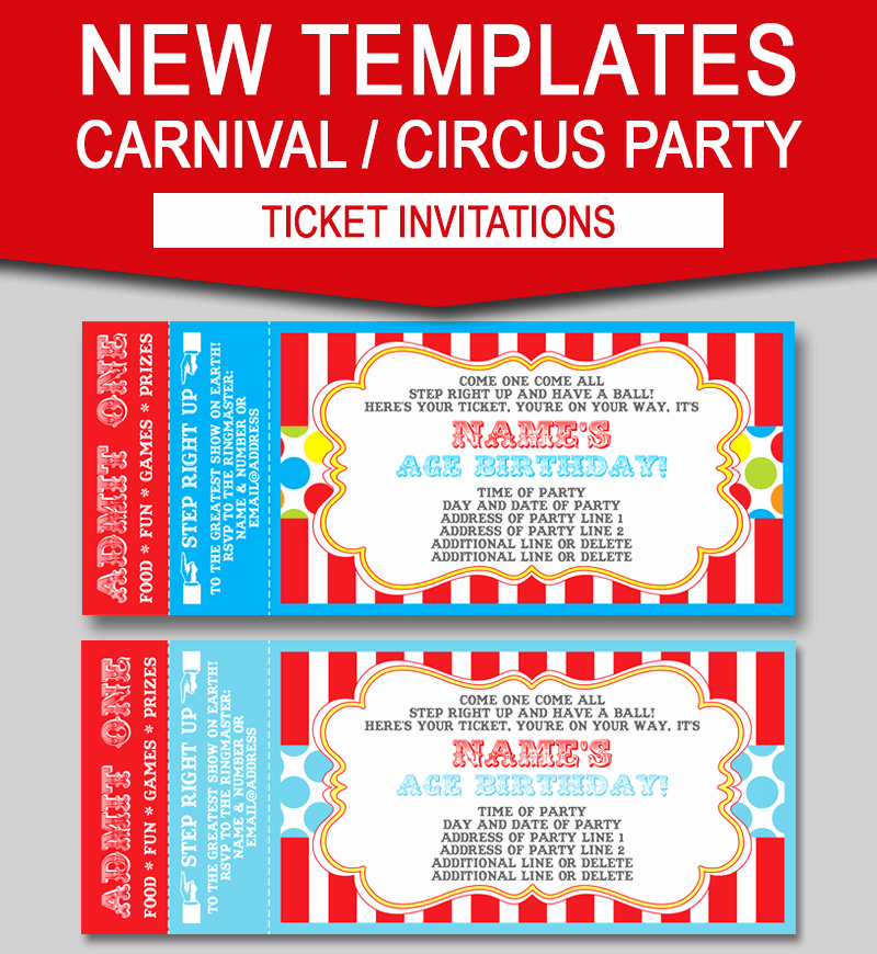 Editable Birthday Invitations Templates Free Lovely Editable Carnival Ticket Invitations