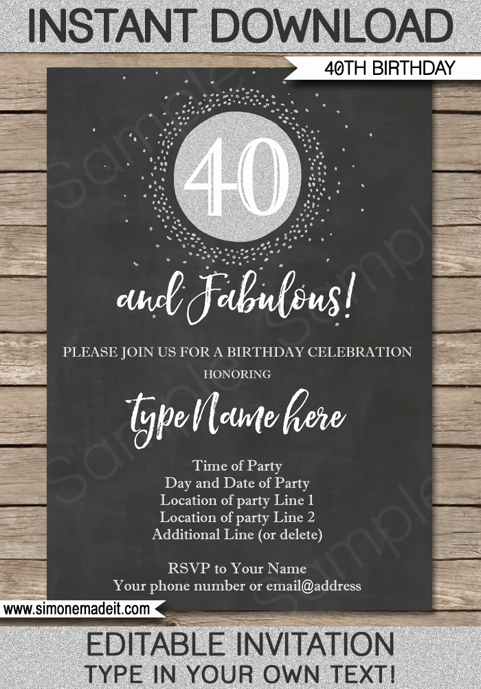 Editable Birthday Invitations Templates Free Luxury Chalkboard 40th Birthday Invitations Template