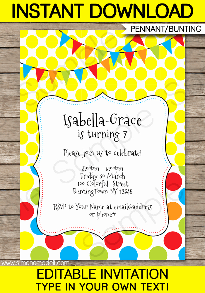 Editable Birthday Invitations Templates Free New Colorful Bunting Invitations Template
