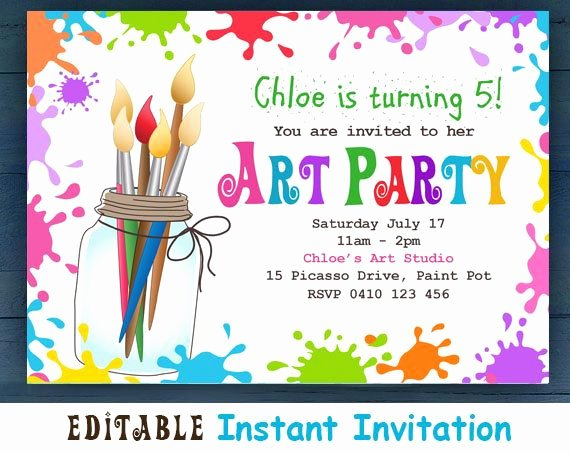 Editable Birthday Invitations Templates Free New Editable Printable D I Y Art Party Invitation Children