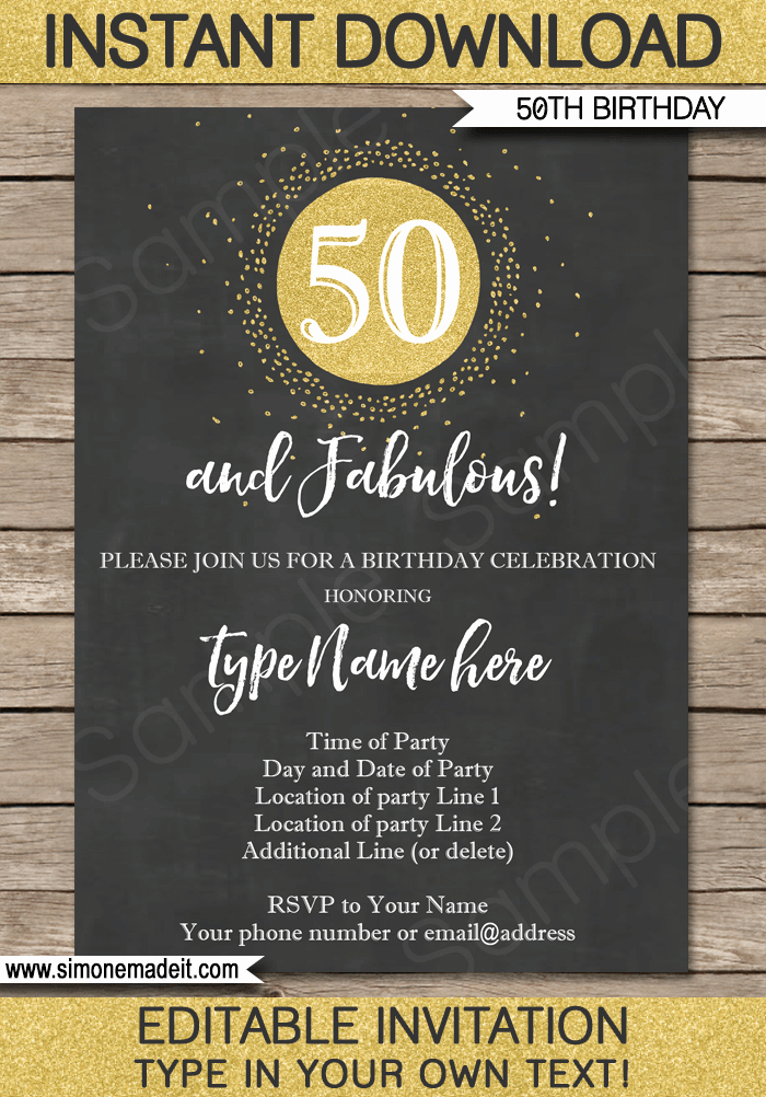 Editable Birthday Invitations Templates Free Unique Chalkboard 50th Birthday Invitations Template