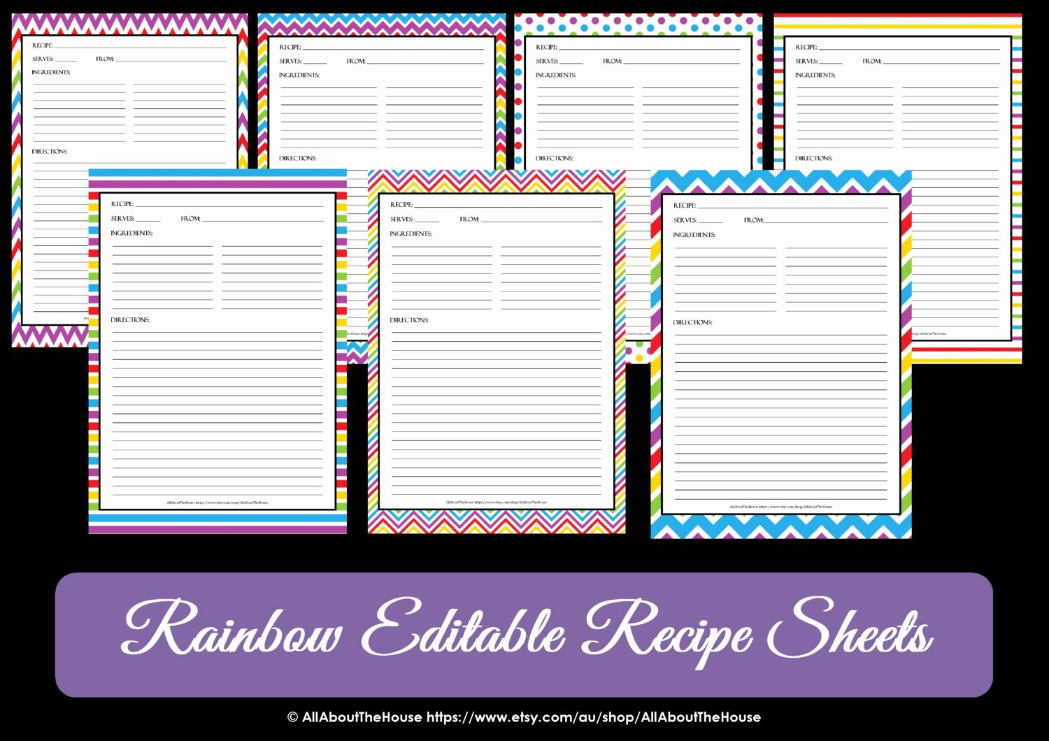 Editable Recipe Card Template Awesome Editable Printable Chevron Recipe Template Recipe Card