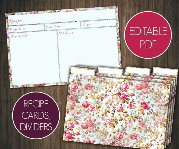 Editable Recipe Card Template Awesome Editable Recipe Cards Divider 4x6 Recipe Cards Printable