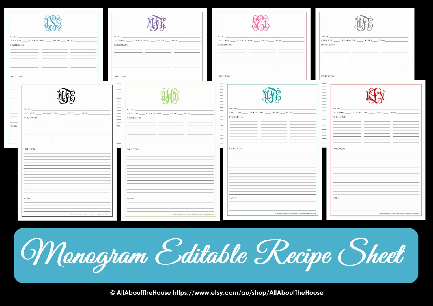 Editable Recipe Card Template Awesome Monogram Recipe Sheet Editable Recipe Card Preppy Template