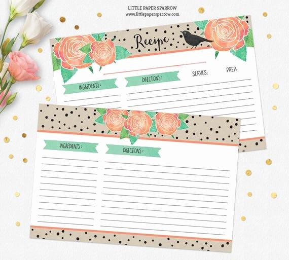 Editable Recipe Card Template Awesome Printable Recipe Card Template Dividers Watercolor Roses
