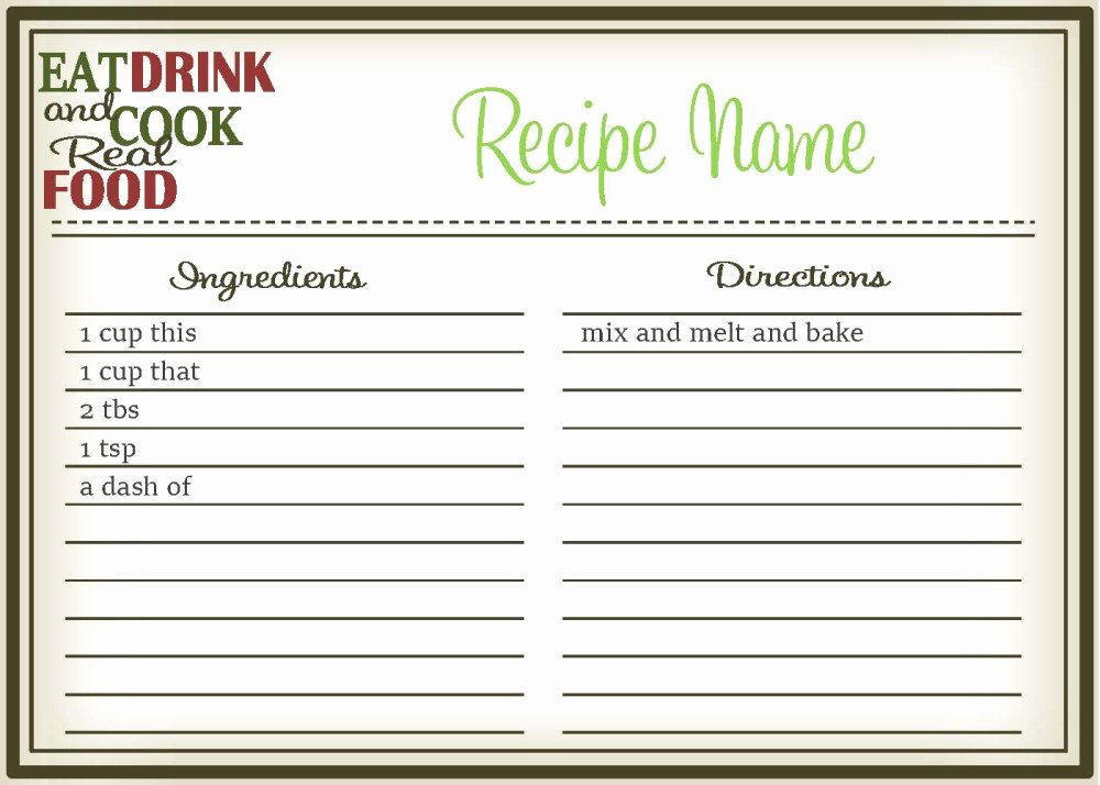 Editable Recipe Card Template Beautiful Real Food Recipe Cards Diy Editable the Healthy Honeys