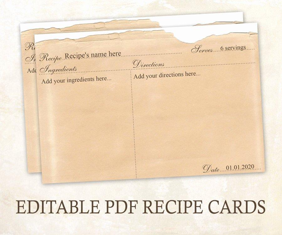 Editable Recipe Card Template Best Of Editable Recipe Cards 4x6 Rustic Recipe Cards Editable Pdf