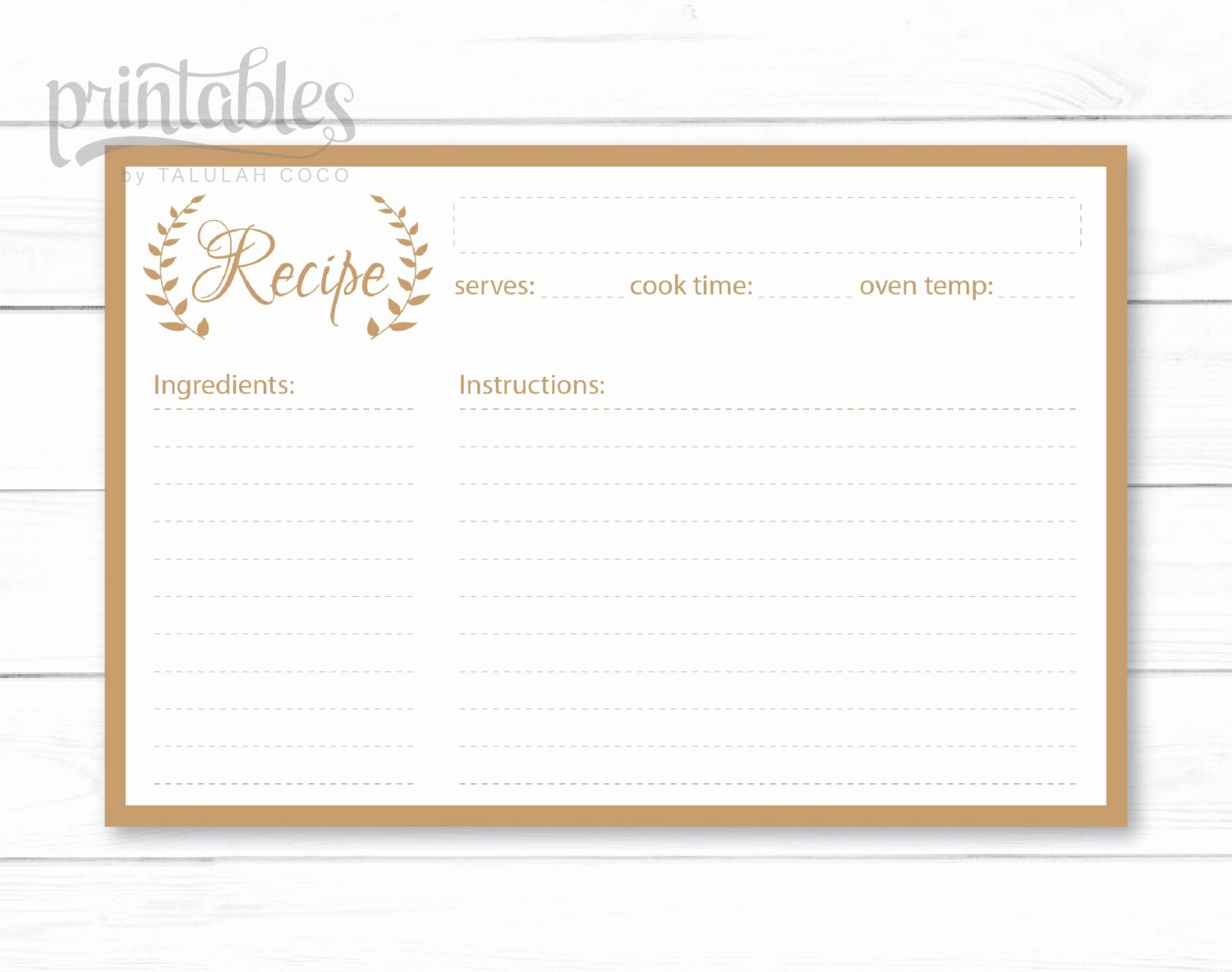 Editable Recipe Card Template Best Of Editable Recipe Cards Kitchen organization Brown Recipe