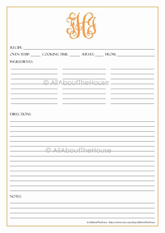 Editable Recipe Card Template Best Of Monogram Recipe Sheet Editable Recipe Card Preppy Template