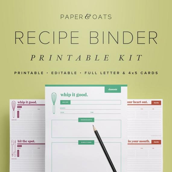 Editable Recipe Card Template Best Of Recipe Binder Printable Kit Editable Diy Recipe by