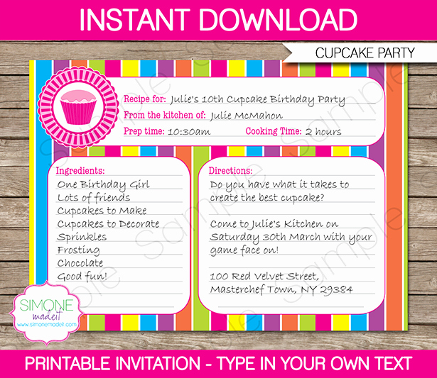 Editable Recipe Card Template Fresh Cupcake Party Invitations Template Cupcakes