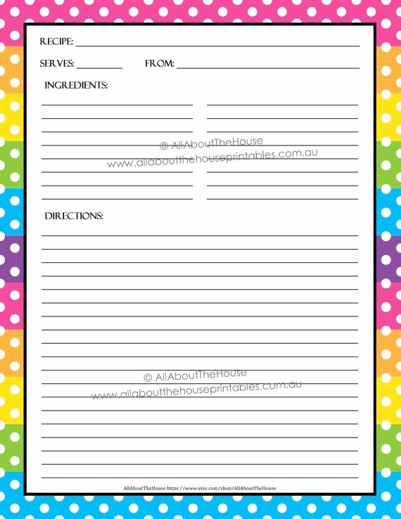 Editable Recipe Card Template Fresh Editable Printable Recipe Card Template Pdf Sheet