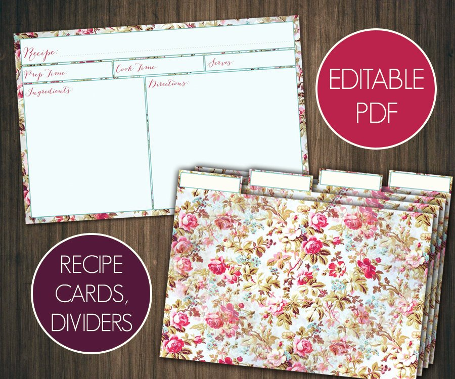 editable recipe cards divider 4x6 recipe