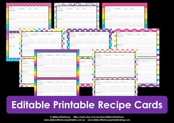 Editable Recipe Card Template Fresh Printable Recipe Card Editable Template Pdf Sheet Recipe