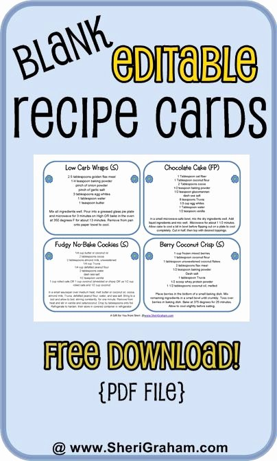 Editable Recipe Card Template Inspirational Blank Editable Recipe Cards 1 2 & 4 Card Versions Free