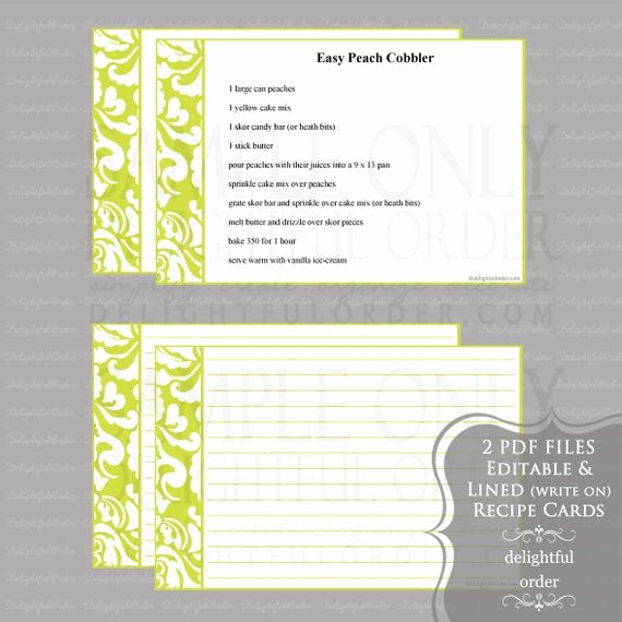 Editable Recipe Card Template Inspirational Editable and Printable 4 X 6 Lime Damask Recipe Cards 2