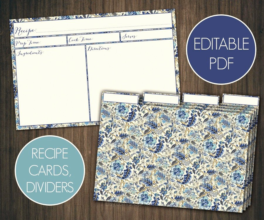 Editable Recipe Card Template New Blue Floral Editable Recipe Cards Divider 4x6 Recipe Cards