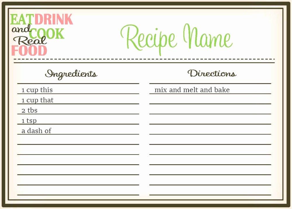 Editable Recipe Card Template Unique Real Food Recipe Cards Diy Editable the Healthy Honeys