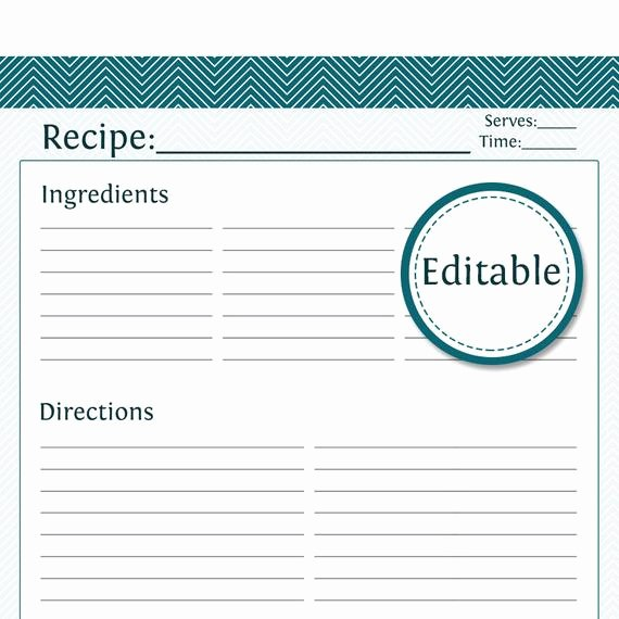 Editable Recipe Card Template Unique Recipe Card Full Page Fillable Printable Pdf Instant