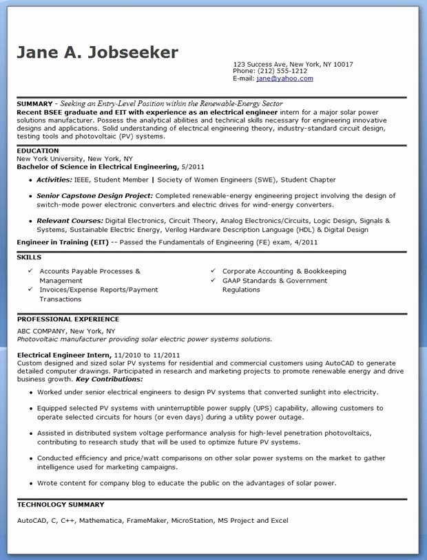 Electrical Engineer Resume Sample Awesome Electrical Engineer Resume Sample Pdf Entry Level