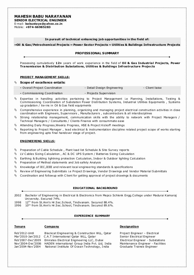 Electrical Engineer Resume Sample Awesome Mbn Cv Senior Electrical Engineer