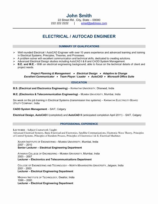 Electrical Engineer Resume Sample Beautiful 10 Best Best Electrical Engineer Resume Templates