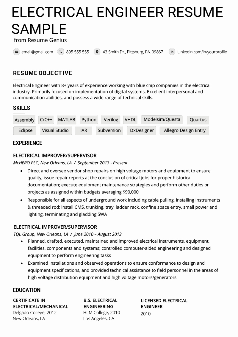 Electrical Engineer Resume Sample Beautiful Electrical Engineer Resume Example & Writing Tips