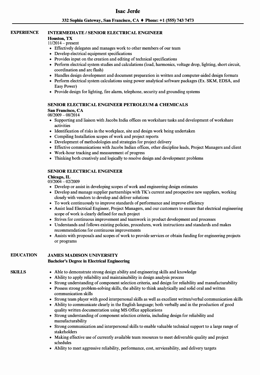 Electrical Engineer Resume Sample Beautiful Senior Electrical Engineer Resume Samples